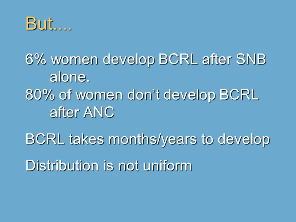 But.... 6% women develop BCRL after SNB alone. 80% of women don't develop BCRL after ANC BCRL takes months/years to develop Distribution is not unifor