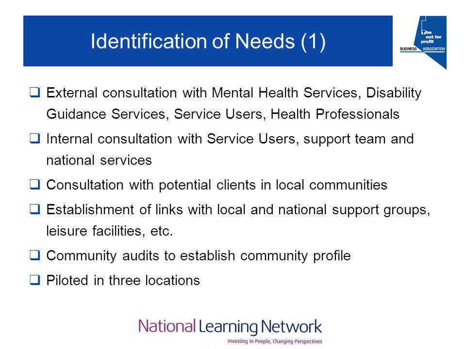 Identification of Needs (1)  External consultation with Mental Health Services, Disability Guidance Services, Service Users, Health Professionals  Internal consultation with Service Users, support team and national services  Consultation with potential clients in local communities  Establishment of links with local and national support groups, leisure facilities, etc.