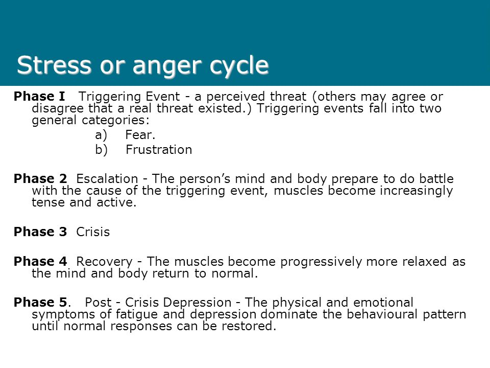 Stress or anger cycle Phase I Triggering Event - a perceived threat (others may agree or disagree that a real threat existed.) Triggering events fall