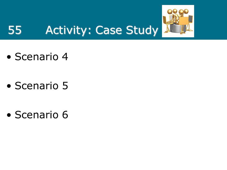 55Activity: Case Study Scenario 4 Scenario 5 Scenario 6