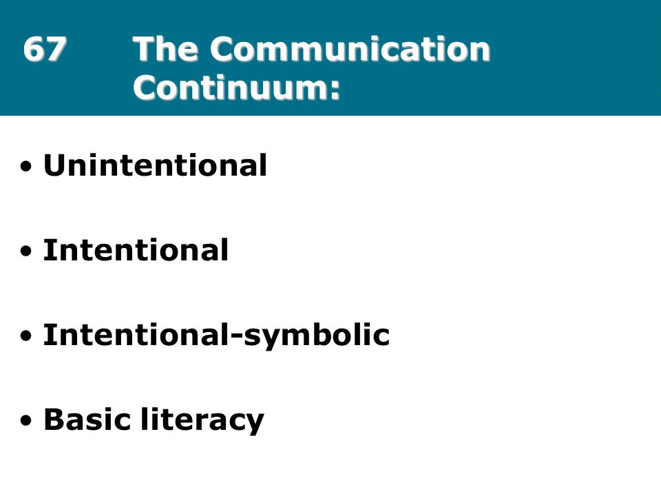 67The Communication Continuum: Unintentional Intentional Intentional-symbolic Basic literacy