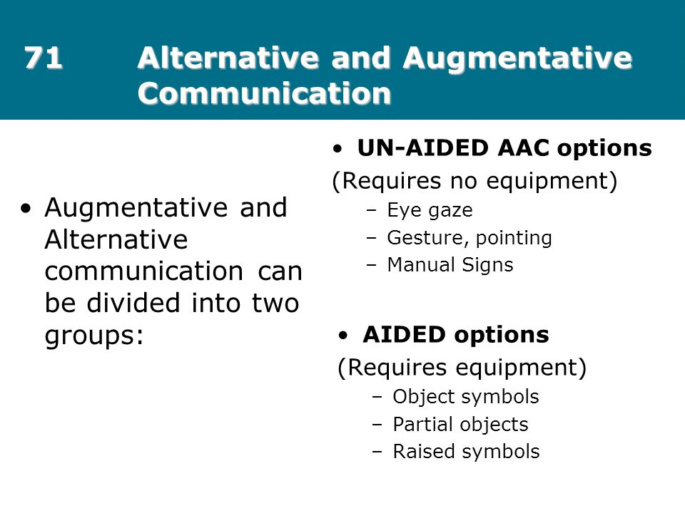 71Alternative and Augmentative Communication Augmentative and Alternative communication can be divided into two groups: UN-AIDED AAC options (Requires