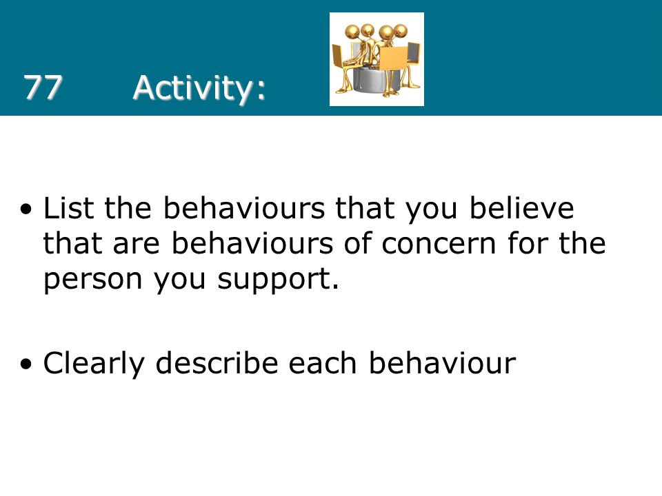 77Activity: List the behaviours that you believe that are behaviours of concern for the person you support. Clearly describe each behaviour