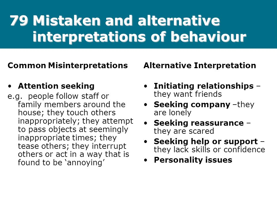 79Mistaken and alternative interpretations of behaviour Common Misinterpretations Attention seeking e.g. people follow staff or family members around