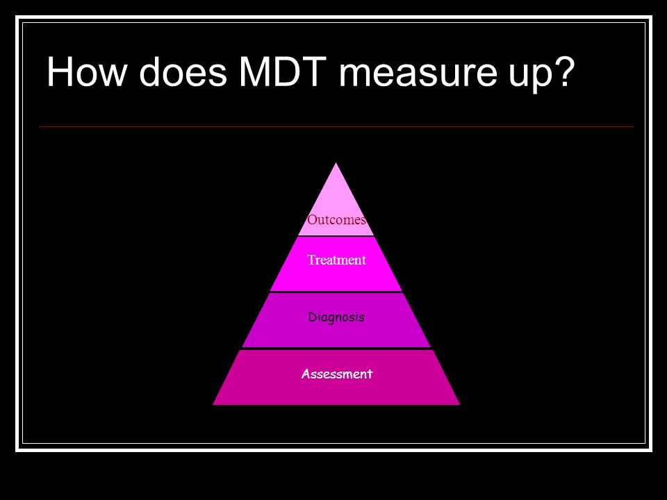 How does MDT measure up Treatment Outcomes Assessment Diagnosis