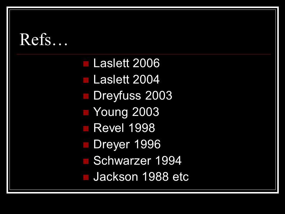 Refs… Laslett 2006 Laslett 2004 Dreyfuss 2003 Young 2003 Revel 1998 Dreyer 1996 Schwarzer 1994 Jackson 1988 etc