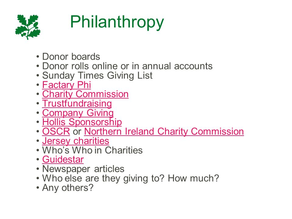 Philanthropy Donor boards Donor rolls online or in annual accounts Sunday Times Giving List Factary Phi Charity Commission Trustfundraising Company Gi