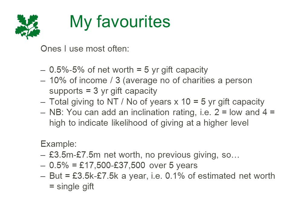 My favourites Ones I use most often: –0.5%-5% of net worth = 5 yr gift capacity –10% of income / 3 (average no of charities a person supports = 3 yr g