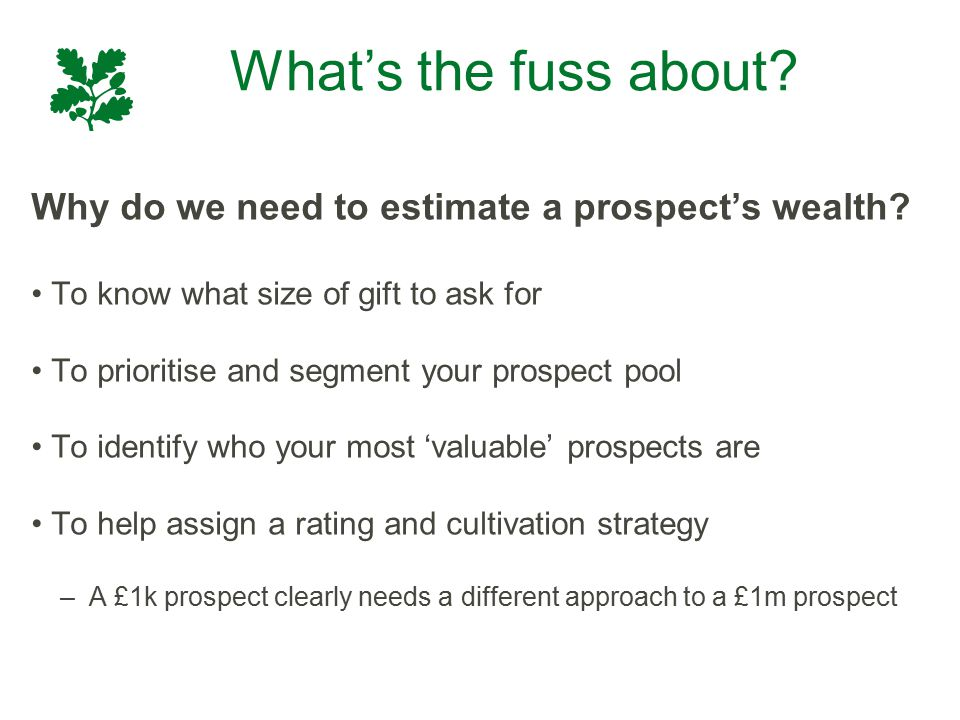 What's the fuss about? Why do we need to estimate a prospect's wealth? To know what size of gift to ask for To prioritise and segment your prospect po