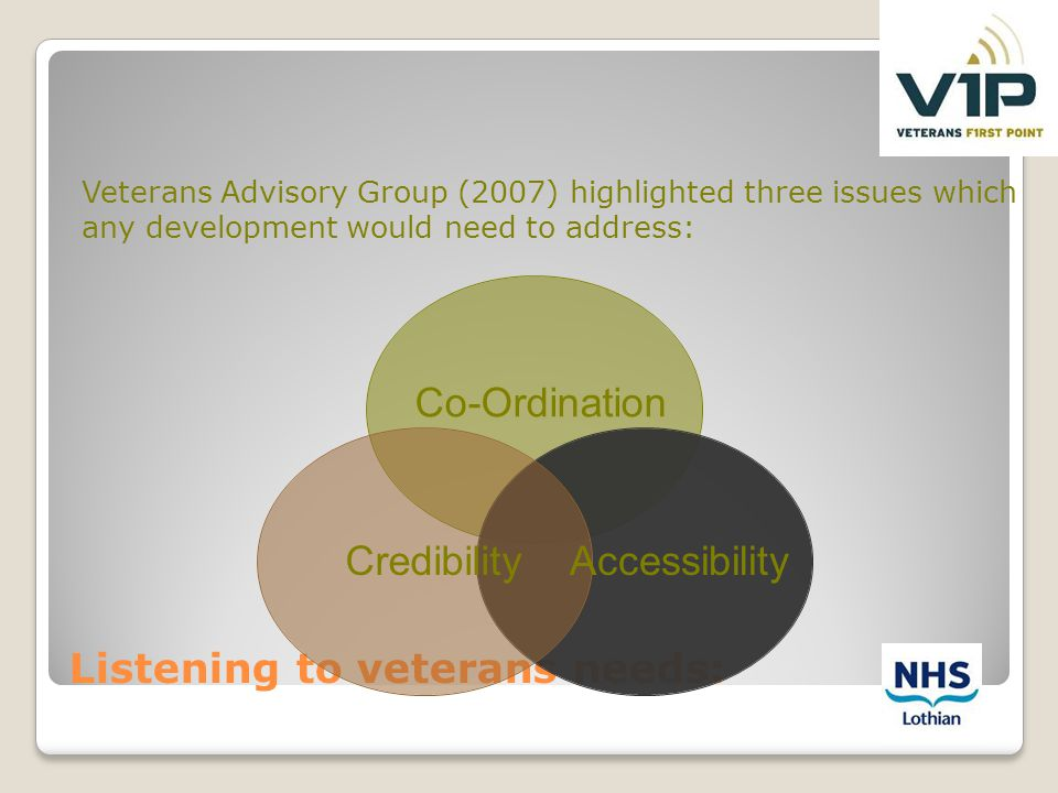 Listening to veterans needs: Veterans Advisory Group (2007) highlighted three issues which any development would need to address: CredibilityAccessibi