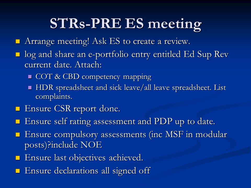 STRs-PRE ES meeting Arrange meeting. Ask ES to create a review.