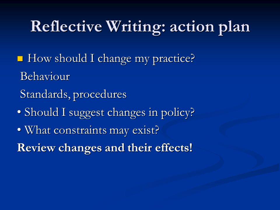 Reflective Writing: action plan How should I change my practice? How should I change my practice? Behaviour Behaviour Standards, procedures Standards,