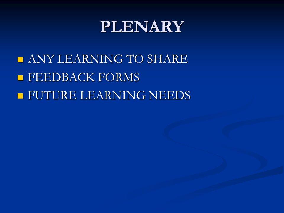 PLENARY ANY LEARNING TO SHARE ANY LEARNING TO SHARE FEEDBACK FORMS FEEDBACK FORMS FUTURE LEARNING NEEDS FUTURE LEARNING NEEDS