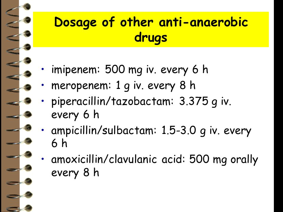 Dosage of other anti-anaerobic drugs imipenem: 500 mg iv.