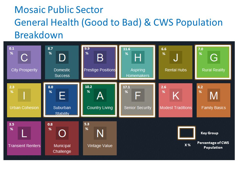 Mosaic Public Sector General Health (Good to Bad) & CWS Population Breakdown 3.5 % 0.8 % 5.3 % 0.1 % 8.7 % 9.9 % 2.3 % 8.0 % 10.2 % 11.6 % 6.6 % 7.0 % 17.1 % 2.6 % 6.2 % Key Group X % Percentage of CWS Population