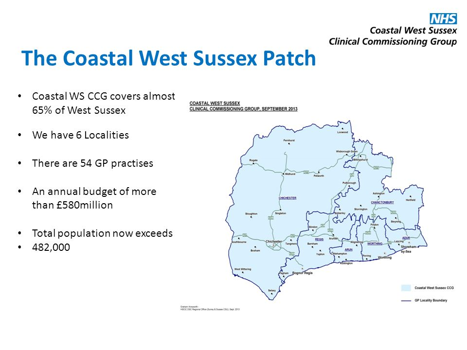 The Coastal West Sussex Patch Coastal WS CCG covers almost 65% of West Sussex We have 6 Localities There are 54 GP practises An annual budget of more than £580million Total population now exceeds 482,000
