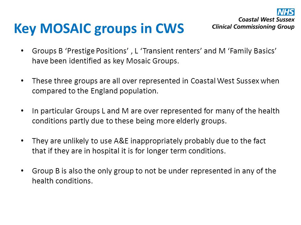 Key MOSAIC groups in CWS Groups B 'Prestige Positions', L 'Transient renters' and M 'Family Basics' have been identified as key Mosaic Groups.