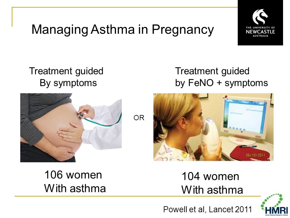 Powell et al, Lancet 2011 Treatment guided By symptoms Treatment guided by FeNO + symptoms 106 women With asthma 104 women With asthma Managing Asthma in Pregnancy OR