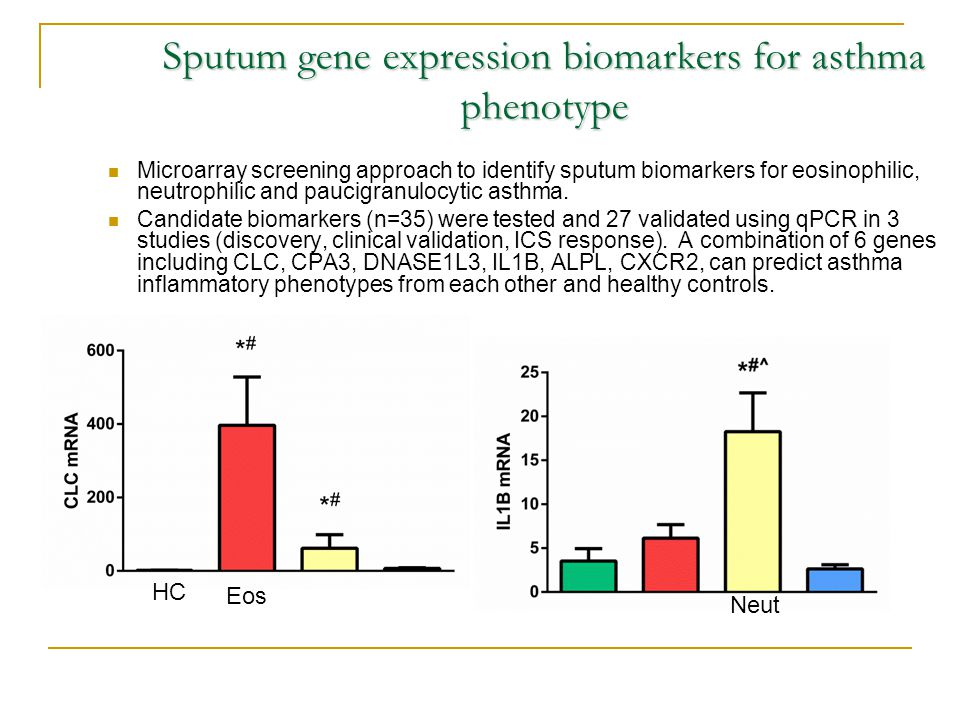 Sputum gene expression biomarkers for asthma phenotype Microarray screening approach to identify sputum biomarkers for eosinophilic, neutrophilic and paucigranulocytic asthma.