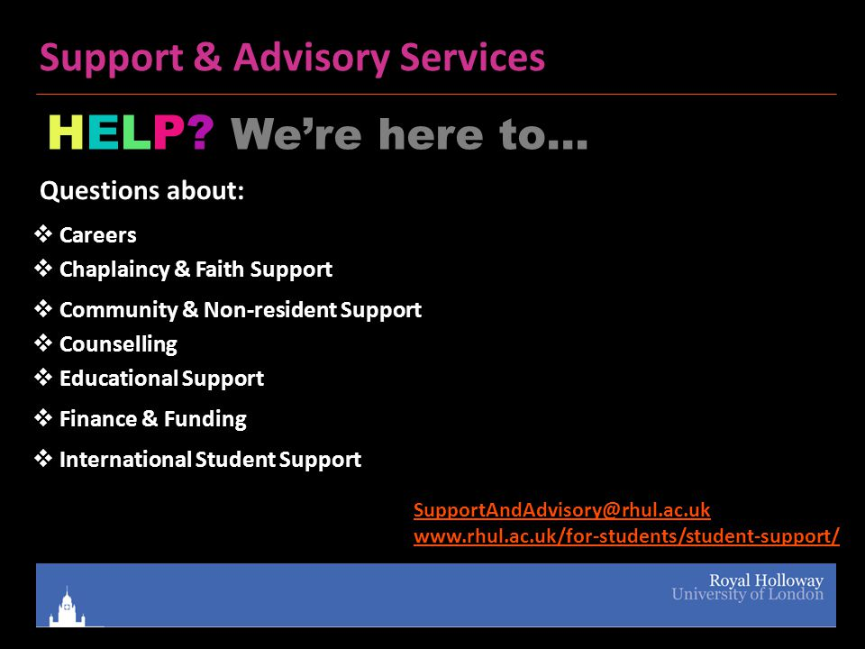 Support & Advisory Services HELP.