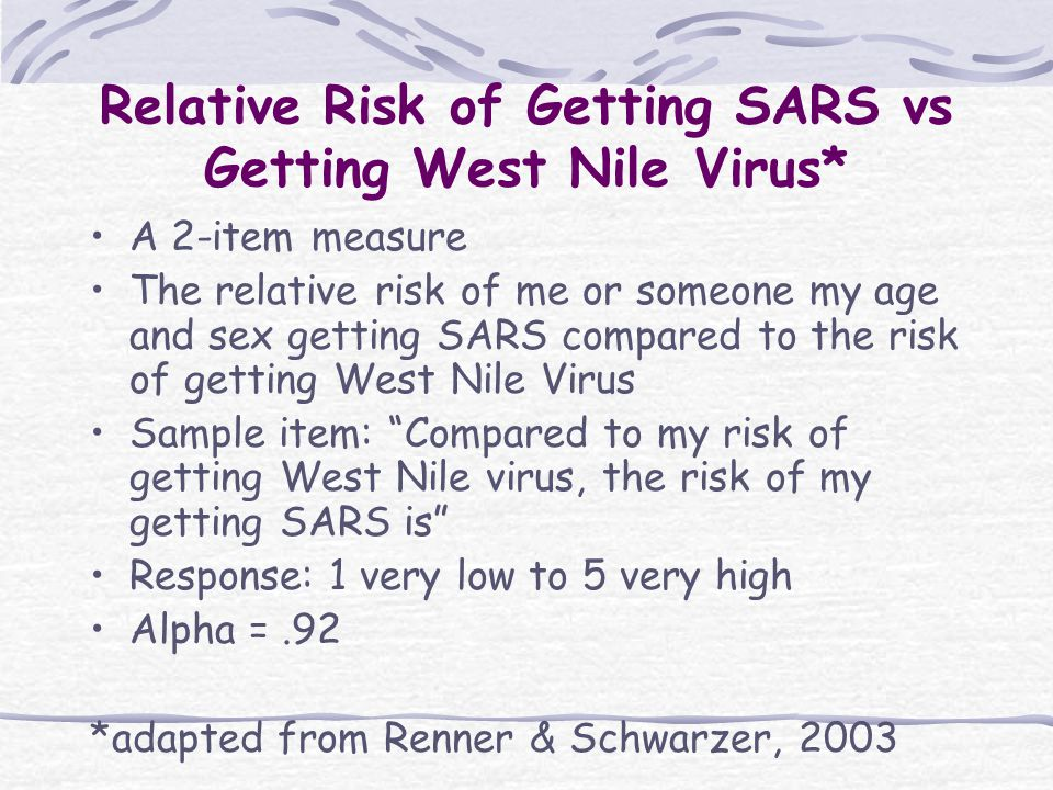 Relative Risk of Getting SARS vs Getting West Nile Virus* A 2-item measure The relative risk of me or someone my age and sex getting SARS compared to the risk of getting West Nile Virus Sample item: Compared to my risk of getting West Nile virus, the risk of my getting SARS is Response: 1 very low to 5 very high Alpha =.92 *adapted from Renner & Schwarzer, 2003