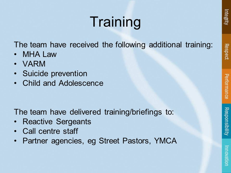 Training The team have received the following additional training: MHA Law VARM Suicide prevention Child and Adolescence The team have delivered training/briefings to: Reactive Sergeants Call centre staff Partner agencies, eg Street Pastors, YMCA