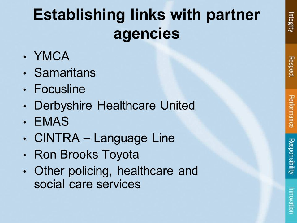 Establishing links with partner agencies YMCA Samaritans Focusline Derbyshire Healthcare United EMAS CINTRA – Language Line Ron Brooks Toyota Other policing, healthcare and social care services