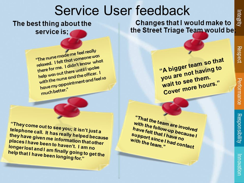 Service User feedback The nurse made me feel really relaxed.
