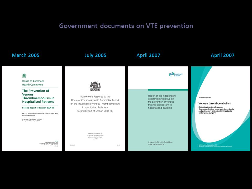 Government documents on VTE prevention March 2005 July 2005 April 2007 April 2007