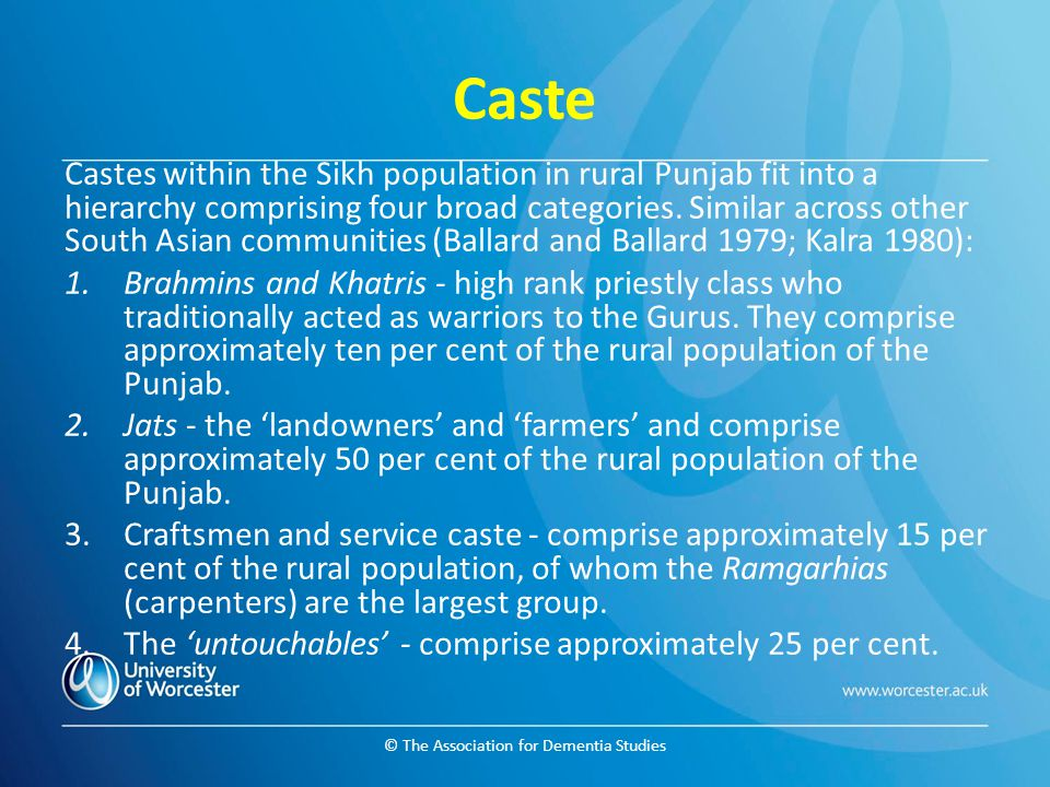 © The Association for Dementia Studies Caste Castes within the Sikh population in rural Punjab fit into a hierarchy comprising four broad categories.
