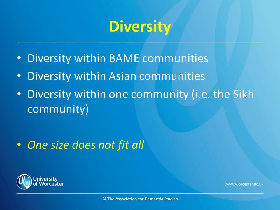 © The Association for Dementia Studies Diversity Diversity within BAME communities Diversity within Asian communities Diversity within one community (i.e.