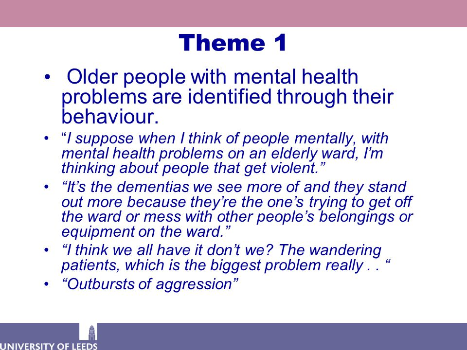 """Theme 1 Older people with mental health problems are identified through their behaviour. """"I suppose when I think of people mentally, with mental healt"""