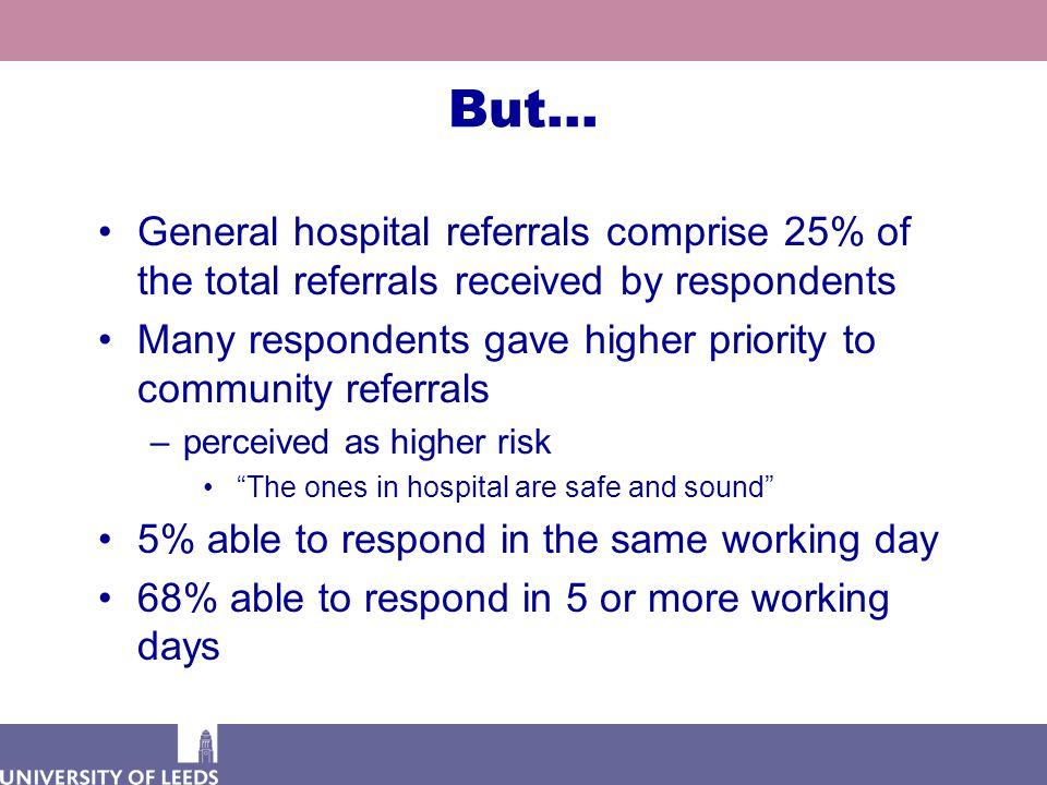 But… General hospital referrals comprise 25% of the total referrals received by respondents Many respondents gave higher priority to community referrals –perceived as higher risk The ones in hospital are safe and sound 5% able to respond in the same working day 68% able to respond in 5 or more working days