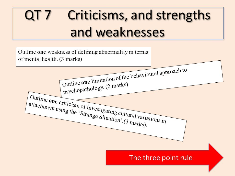 QT 7 Criticisms, and strengths and weaknesses The three point rule Outline one limitation of the behavioural approach to psychopathology.