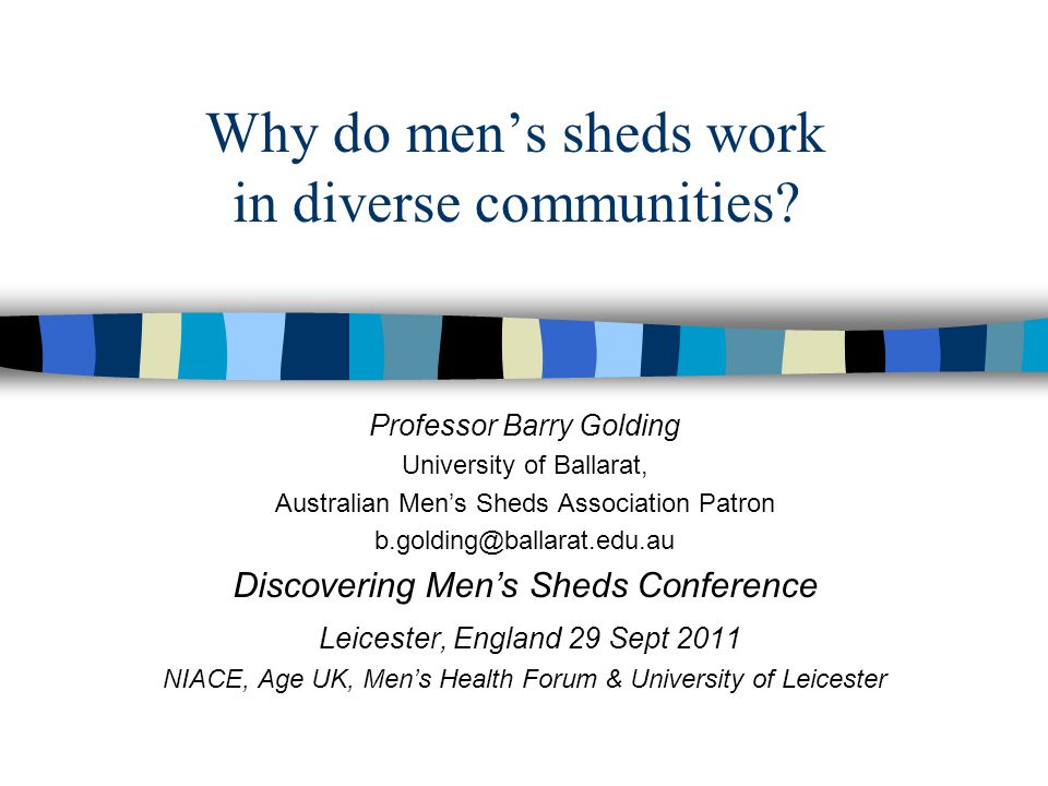 Why do men's sheds work in diverse communities.