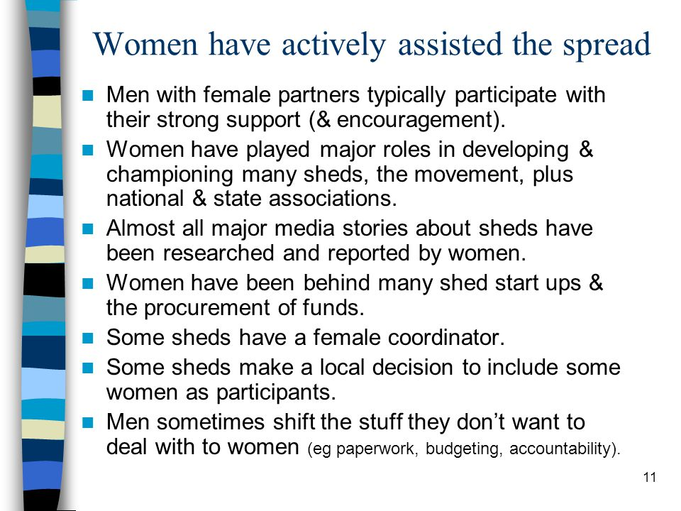 11 Women have actively assisted the spread Men with female partners typically participate with their strong support (& encouragement).