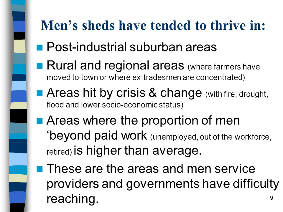 Men's sheds must be for all men An important reflection on four men who have suggested otherwise … Racism, homophobia, discrimination on the basis of religion or disability is not acceptable in sport (and is unlawful).
