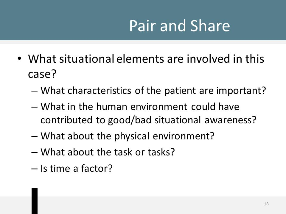 Pair and Share What situational elements are involved in this case? – What characteristics of the patient are important? – What in the human environme