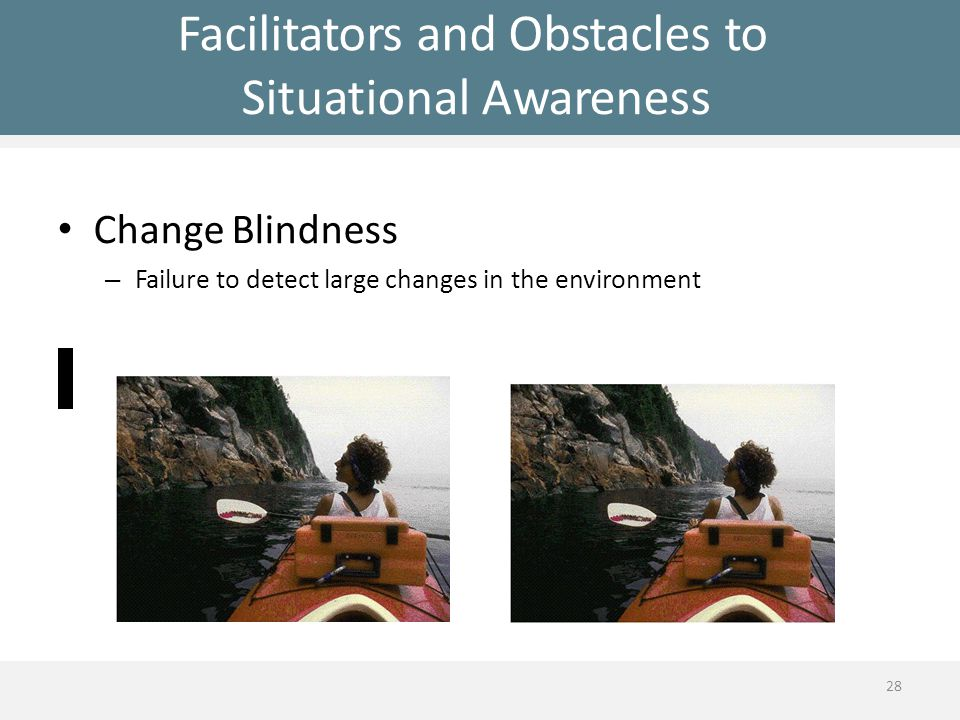 Facilitators and Obstacles to Situational Awareness Change Blindness – Failure to detect large changes in the environment 28