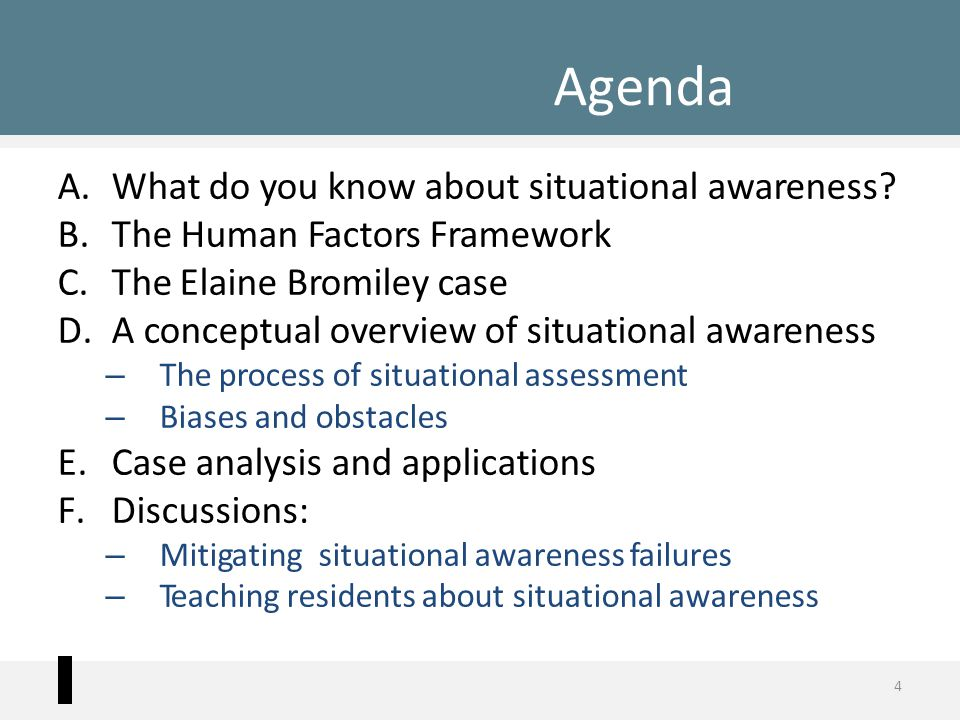 Agenda A.What do you know about situational awareness? B.The Human Factors Framework C.The Elaine Bromiley case D.A conceptual overview of situational