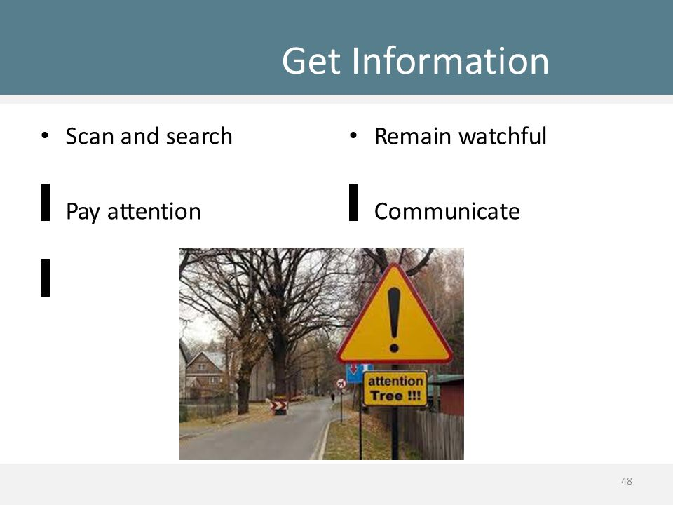 Get Information Scan and search Pay attention Remain watchful Communicate 48