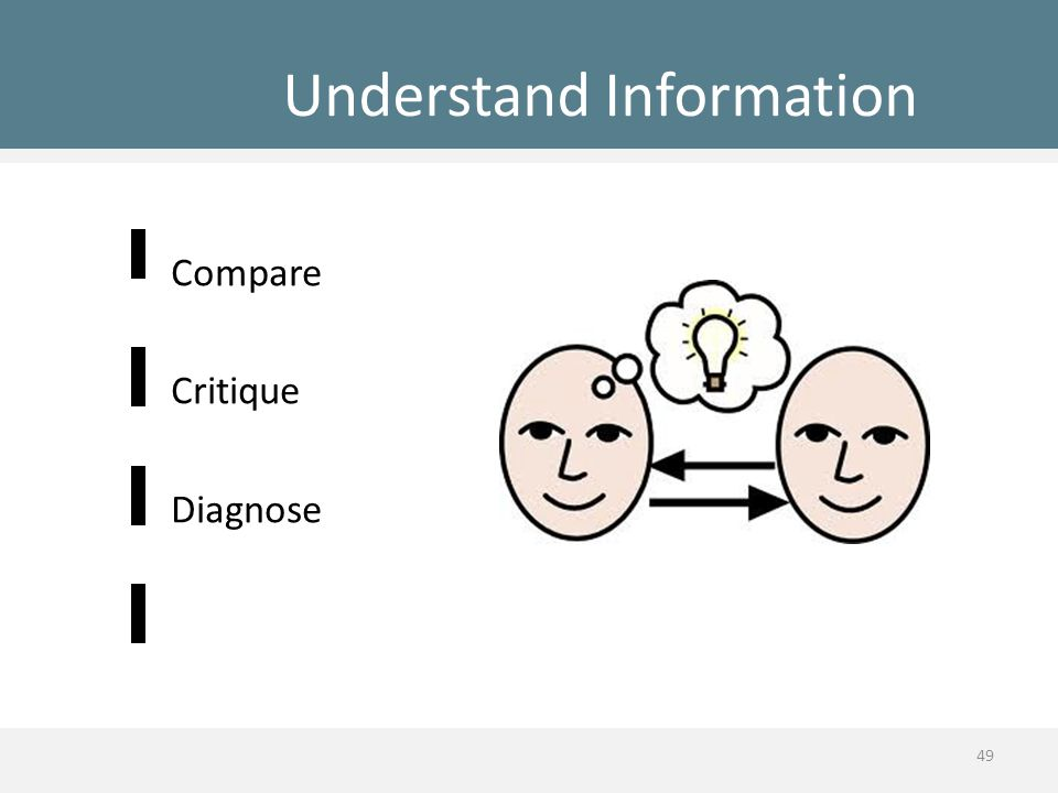 Understand Information Compare Critique Diagnose 49