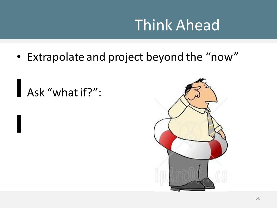 "Think Ahead Extrapolate and project beyond the ""now"" Ask ""what if?"": 50"