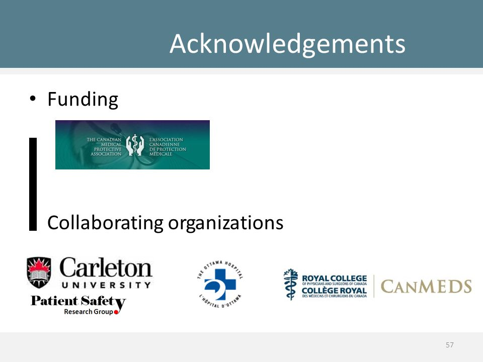 Acknowledgements Funding Collaborating organizations 57