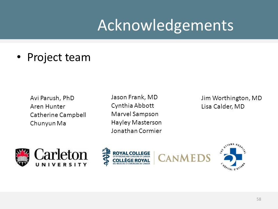 Acknowledgements Project team Avi Parush, PhD Aren Hunter Catherine Campbell Chunyun Ma Jason Frank, MD Cynthia Abbott Marvel Sampson Hayley Masterson