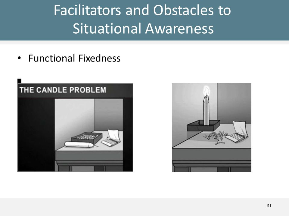 Facilitators and Obstacles to Situational Awareness Functional Fixedness 61