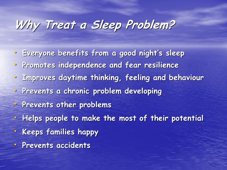 Children's Sleep Disorders: Prevalence Rates   20% of pre-school children (Richman, 1977)  10% of school age children  40-50% of children with severe learning disabilities (Pahl & Quine, 1984)  Up to 2/3 of ASD children and adolescents (Hoshino,1984)  75% of children with profound learning disabilities (Hogg & Lambe, 1988)  25% of adults (ASDA, 1990)  Most parents of ASD/SLD children have sleep problems