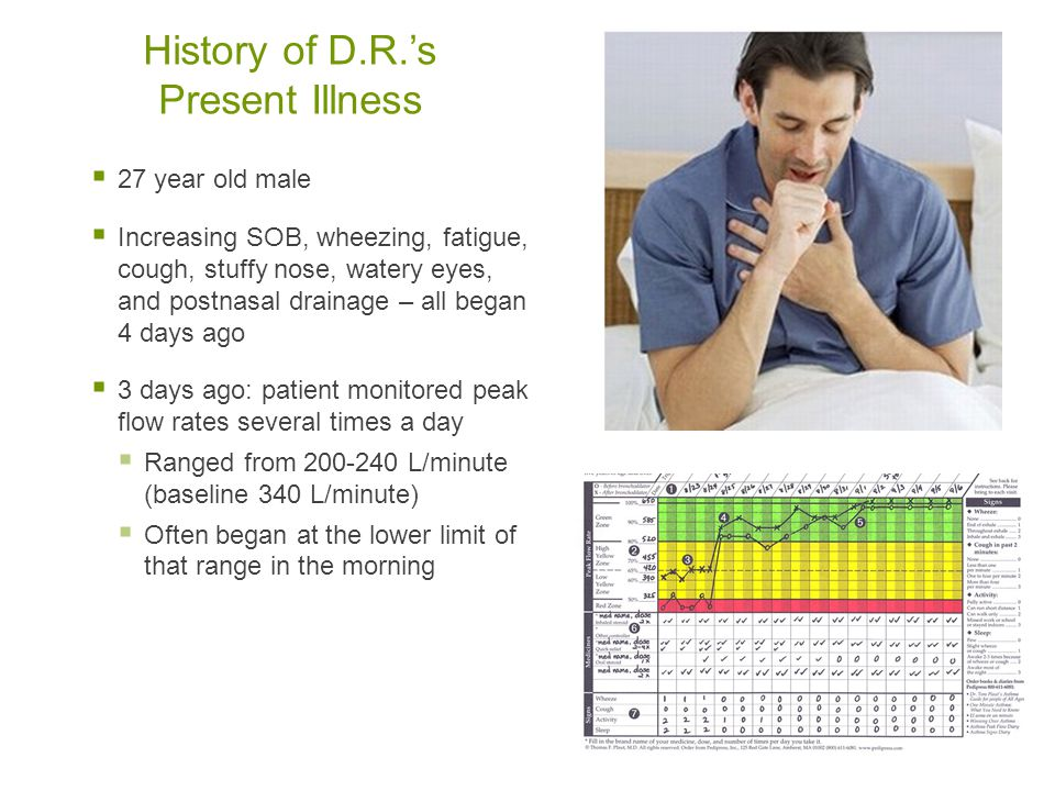 History of D.R.'s Present Illness  27 year old male  Increasing SOB, wheezing, fatigue, cough, stuffy nose, watery eyes, and postnasal drainage – al