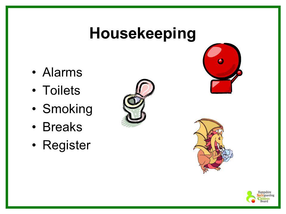 Housekeeping Alarms Toilets Smoking Breaks Register