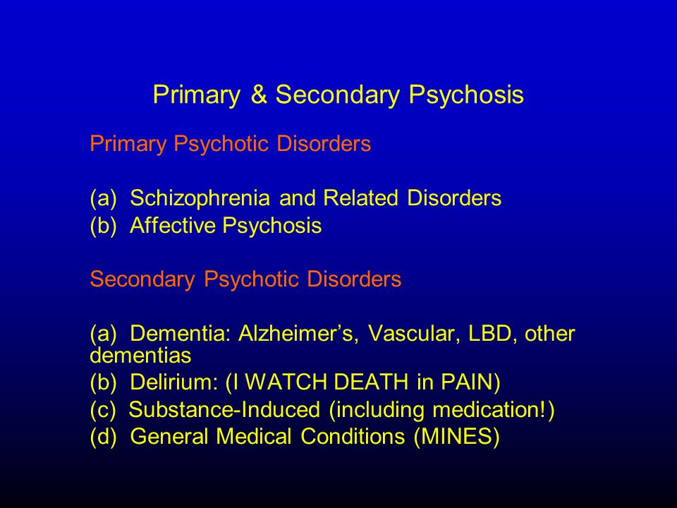 Etiologies of Pychosis in Older Adults (in order of frequency) 1.Alzheimer's & other dementias 2.Depression 3.Medical / Toxin / Substance-Induced 4.Delirium 5.Bipolar Disorder 6.Delusional Disorder 7.Schizophrenia 8.Schizoaffective Disorder Differential Diagnosis of the Older Patient with Psychotic Symptoms.